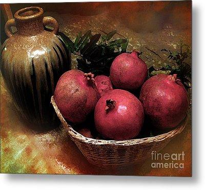 Pomegranate Basket And Clay Jar Metal Print
