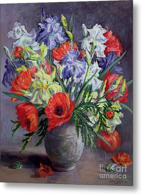 Poppies And Irises Metal Print
