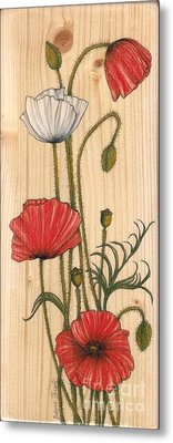 Poppies On Wood Metal Print by Snezana Kragulj