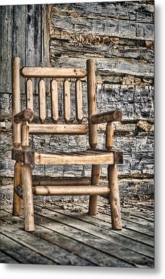 Porch Chair Metal Print by Heather Applegate