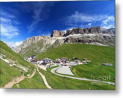 Pordoi Pass And Mountain Metal Print by Antonio Scarpi