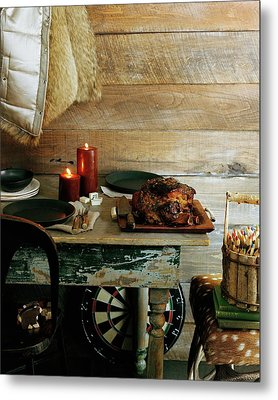Pork With Candles Metal Print by Romulo Yanes