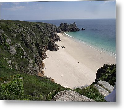 Metal Print featuring the photograph Porthcurno Cove by Jayne Wilson