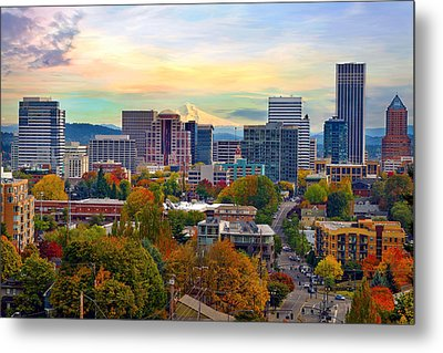 Portland Downtown Cityscape In The Fall Metal Print