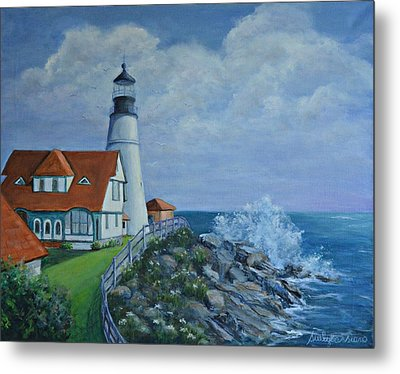 Portland Light House Metal Print by Suely Cassiano