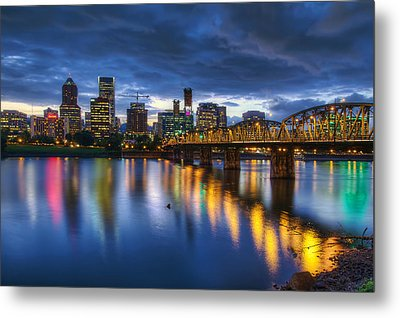 Portland Oregon Waterfront At Blue Hour Metal Print by David Gn