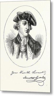 Portrait And Autograph Of General Horatio Gates Metal Print