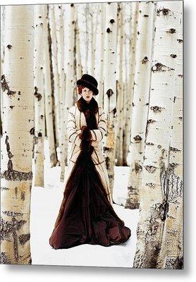 Karen Elson Models Gaultier Metal Print by Arthur Elgort