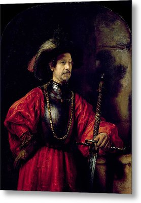 Portrait Of A Man In Military Costume Metal Print by Rembrandt Harmensz. van Rijn