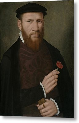 Portrait Of A Man With His Right Hand Metal Print by Master of the 1540s