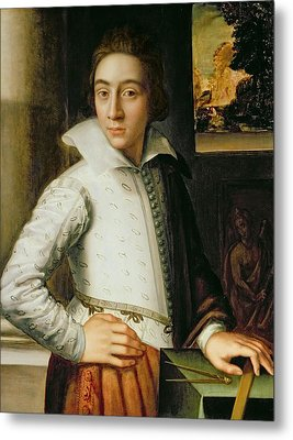 Portrait Of A Young Man, Mid-sixteenth Metal Print by Florentine School