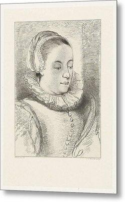 Portrait Of Anna Roemers Visscher, Print Maker Johannes Metal Print