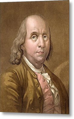 Portrait Of Benjamin Franklin Metal Print by Gallo Gallina