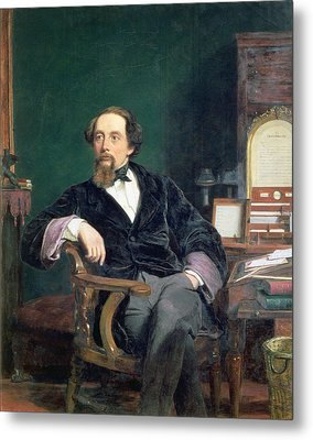 Portrait Of Charles Dickens Metal Print by William Powell Frith