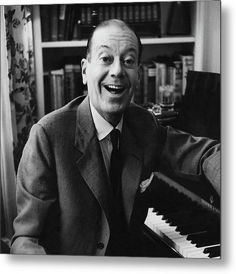 Portrait Of Cole Porter Sitting At His Piano Metal Print