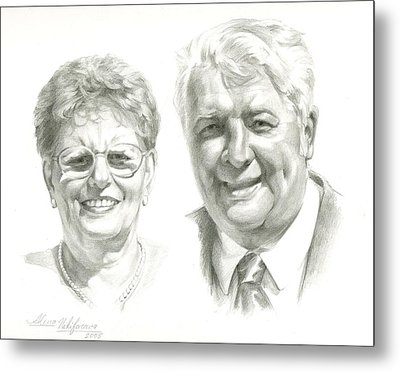 Portrait Of Couple. Commission. Metal Print