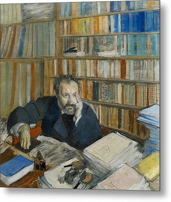 Portrait Of Edmond Duranty, 1879 Metal Print by Edgar Degas