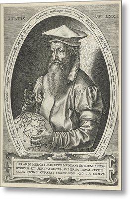 Portrait Of Gerardus Mercator, Print Maker Hendrick Metal Print by Hendrick Goltzius And Frans Hogenberg And Johannes Vivianus
