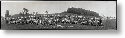 Portrait Of Group Of People At Camp Metal Print