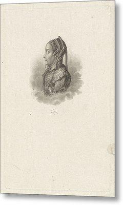 Portrait Of Margaretha Coppier, Philippus Velijn Metal Print by Philippus Velijn