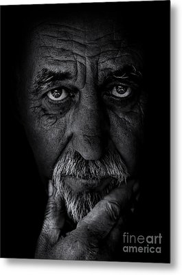 Portrait Of Old Man Metal Print by Balazs Kovacs