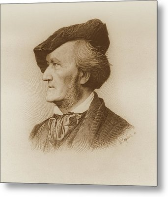Portrait Of Richard Wagner German Metal Print by German School