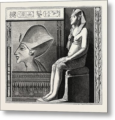 Portrait Statue And Relief Of The Fanatical King Amenophis Metal Print by Litz Collection