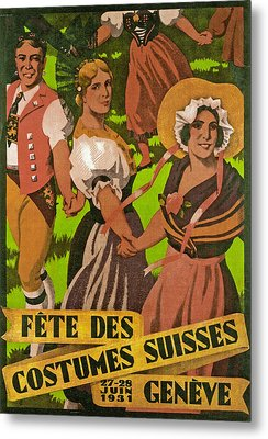 Poster Advertising F?te Des Costumes Metal Print by Jules Courvoisier