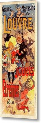 Poster For Magasins Du Louvre. Chéret, Jules 1836-1932 Metal Print