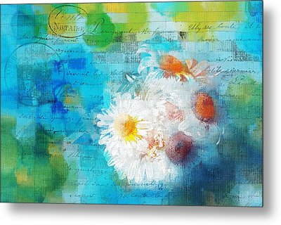 Pot Of Daisies 02 - J3327100-bl1t22a Metal Print by Variance Collections