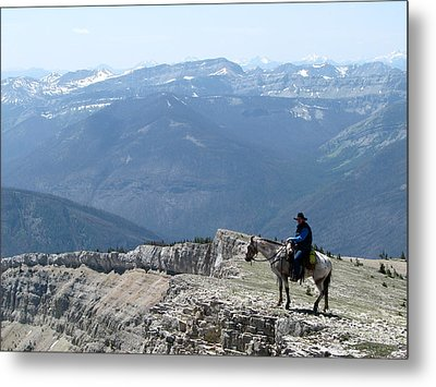 Prairie Reef View With Horse And Rider Metal Print
