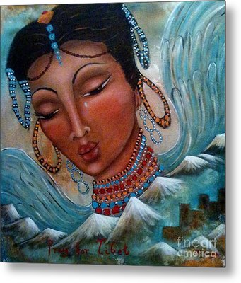 Pray For Tibet Metal Print by Maya Telford