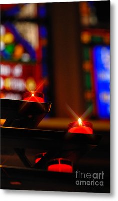 Prayer Candles Trinity Cathedral Pittsburgh Metal Print by Amy Cicconi