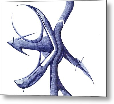 Metal Print featuring the drawing Prehistoric Sign by Giuseppe Epifani