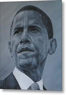Metal Print featuring the painting President Obama by David Dunne
