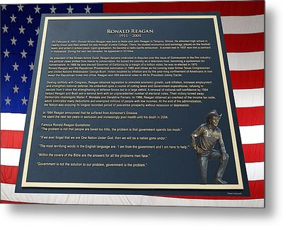 President Ronald Reagan Plaque Metal Print by Thomas Woolworth