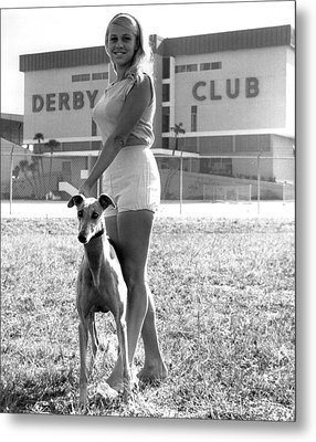 Pretty Girl With Greyhound Metal Print by Retro Images Archive