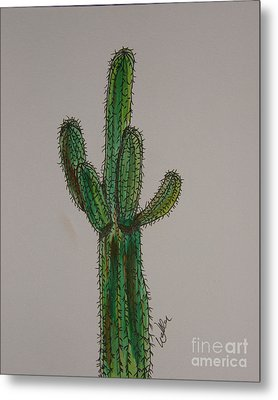 Prickly Saguaro Metal Print by Marcia Weller-Wenbert