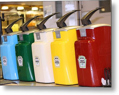 Primary Colors Of Condiments Metal Print by Kym Backland