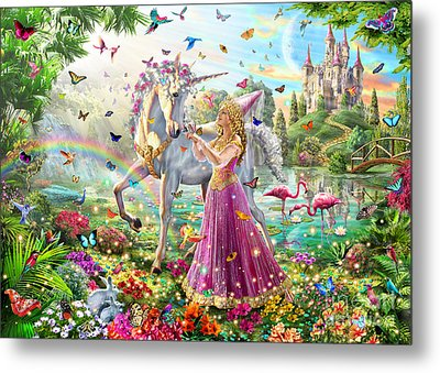 Princess And The Unicorn Metal Print by Adrian Chesterman
