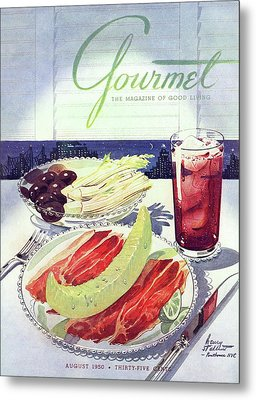 Prosciutto, Melon, Olives, Celery And A Glass Metal Print by Henry Stahlhut