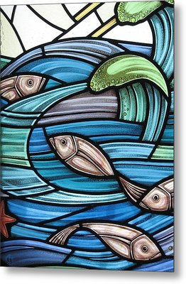 Metal Print featuring the glass art Protection Island Seascape by Gilroy Stained Glass
