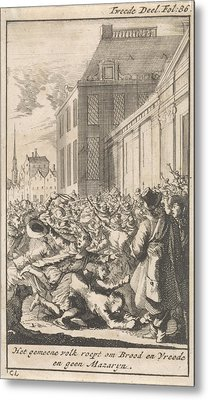 Protest Of The Population Against Cardinal Mazarin Metal Print