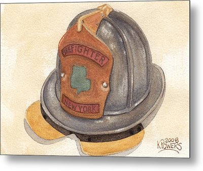 Proud To Be Irish Fire Helmet Metal Print by Ken Powers