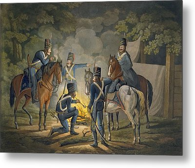 Prussian Hussars On A Night Picket Metal Print by Conrad Gessner