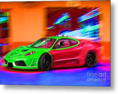 Metal Print featuring the photograph Psychedelic Ferrari by Gunter Nezhoda