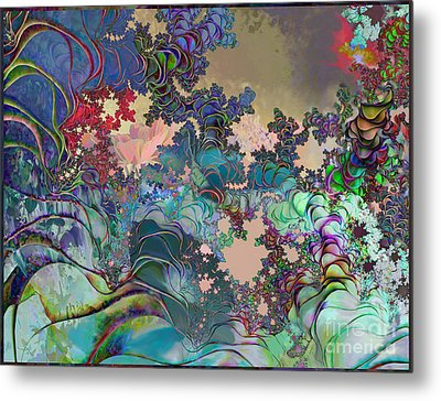 Metal Print featuring the digital art Psychedelic Garden by Ursula Freer