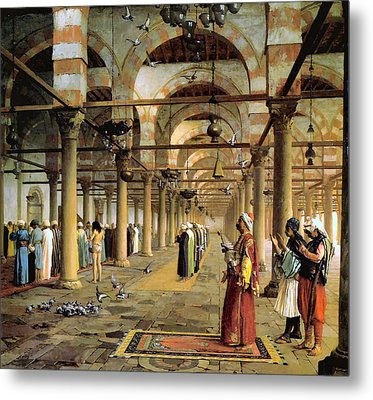 Public Prayer In The Mosque  Metal Print by Jean Leon Gerome