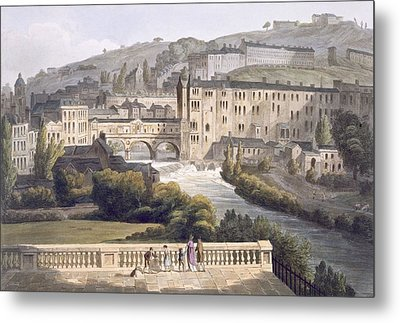 Pulteney Bridge, From Bath Illustrated Metal Print by John Claude Nattes
