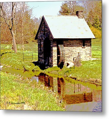 Pump House And Water Wheel In Autumn Digital Art Metal Print by A Gurmankin